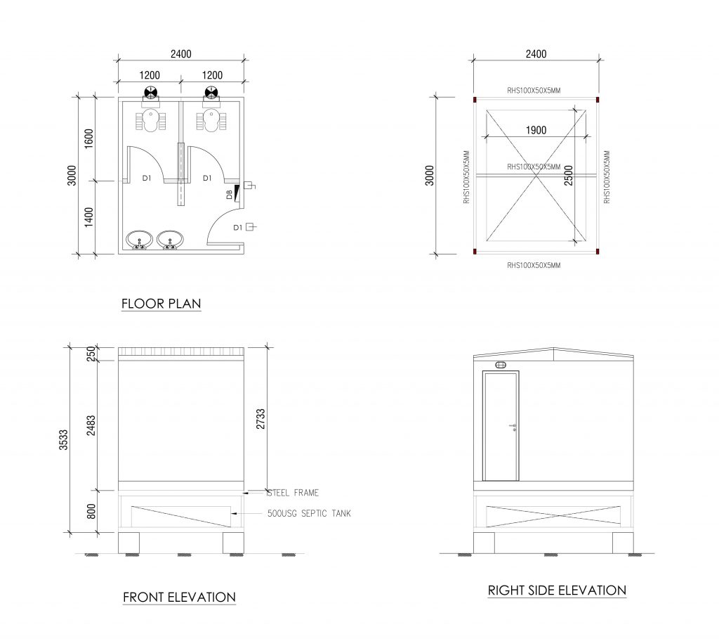 prefabricated portable toilets